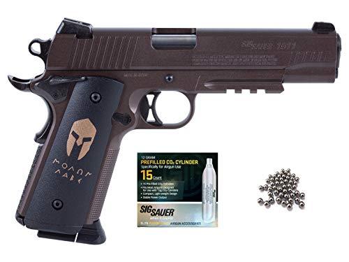 SIG Sauer 1911 BB Gun Air Pistol with CO2 12 Gram (15 Pack) Bundle (Spartan)