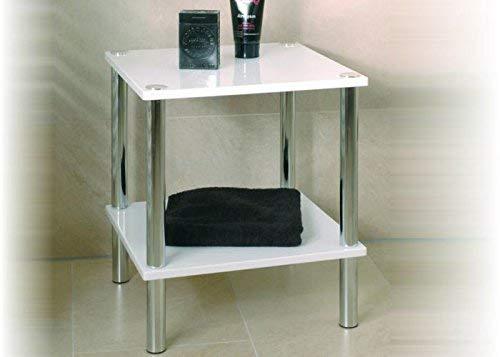 Haku Möbel 90338 Table d'Appoint Tube d'Acier/MDF Chromé/Blanc 39 x 39 x 47 cm