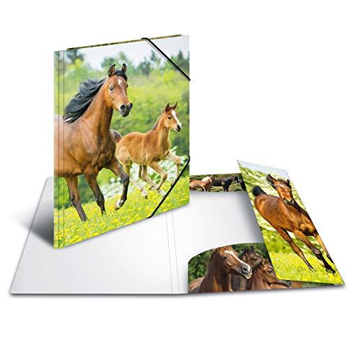 HERMA 7145 Sammelmappe DIN A3 Tiere Pferde aus stabilem Kunststoff mit bedruckten Innenklappen, Gummizugmappe, Eckspanner-Mappe, 1 Zeichenmappe für Kinder