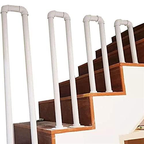 Barandilla De La Escalera De Hierro Forjado En Forma De U, Base Blanca Mate Industrial Galvanizado Escalera De Pasos Pasamanos, Barra De Soporte Antideslizante De Seguridad Anciana Interior Y Al Aire