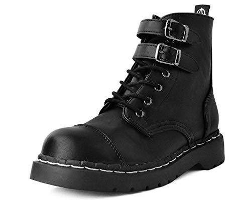 T.U.K. Shoes Damen Schwarz Vegan Leder Doppelschnalle Anarchic Stiefel 40 EU