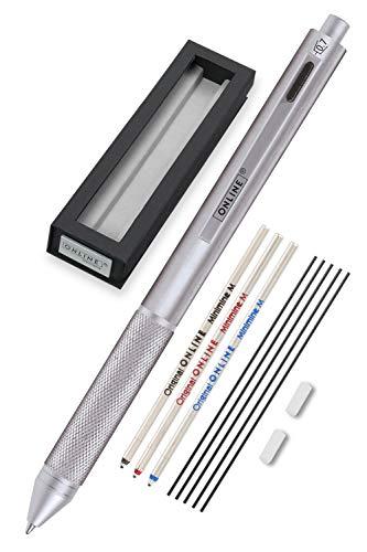 Online Multipen 4 en 1 plateado | Bolígrafo y lápiz multifunción de metal | 3 recambios de bolígrafo en azul, negro y rojo + 1 mina portaminas | Incluye goma de borrar en caja de regalo ⭐