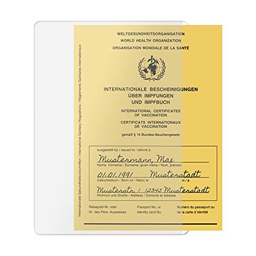 3x Hülle für Impfpass Impfausweis - 106x155 mm - seitliche Öffnung für praktischen Quereinschub - transparent - Impfpasshülle Klarsichthülle Schutzhülle
