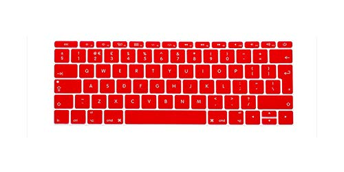 For Macbook 12' A1534 Eu/Uk English Silicone Keyboard Cover Skin And For Mac New Pro 13' A1708 (2016 Version No Touch Bar)-Red