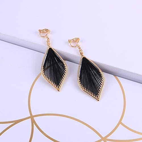 weichuang New Bohemian Vintage Cotton Thread Water Drop Clip on Earrings for Women Girl Temperament Without Piercing Ear Clips Jewelry (Metal Color : Black)