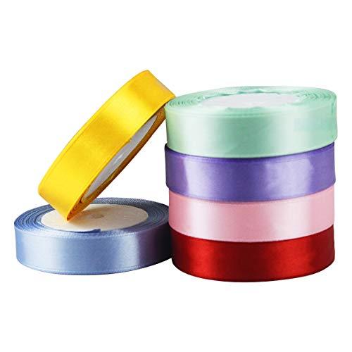 Cinta de Raso Satén 20mm x 22m Cinta de Organza 6 Colores Cinta para manualidades/Embalaje/Fiesta/Decoración/ Dodas/ Cuerda de Globos