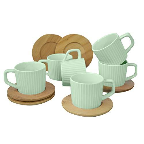 Hogar y Mas Juego de Café Natura Verde Moderno, 6 Tazas con Platos de Bambú. Tazas de Café 6 Unidades, 100 ml