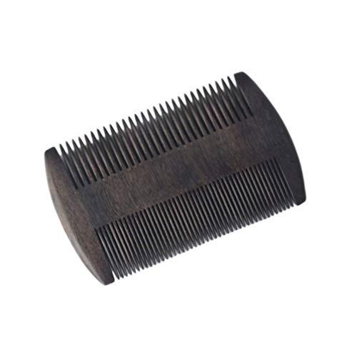 Lurrose Peine de Barba de Madera Peine de Bigote de Doble Diente Peine de Peluquería Portátil Peine para Hombres Peine de Afeitar