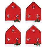JPYH Fundas para Silla de Navidad, 4 Piezas Cubierta de la Silla de Comedor Navidad, Home Rojo Decoración Navideña Fundas para Sillas,Funda de Silla de Navidad para Decoración de