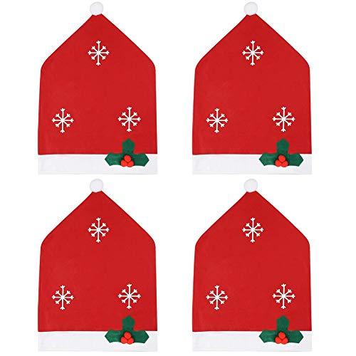 JPYH Fodere per sedie di Natale, 4 Pezzi Coprisedili Natalizi Decorazioni,Generic Christmas Theme Chair Back Cover, Decorazione Natalizia Festa per la Decorazione del Tavolo