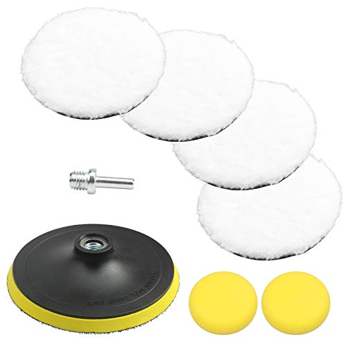 LAMEK 8pcs Soft Wool Polishing Set Wool Polishing Buffer Pads with 2pcs sponges, 1pcs Adhesive Backer Pad, 1pcs Drill Adapter for Polishing Cleaning Cars Glass Stainless Steel Ceramics Marble Wood