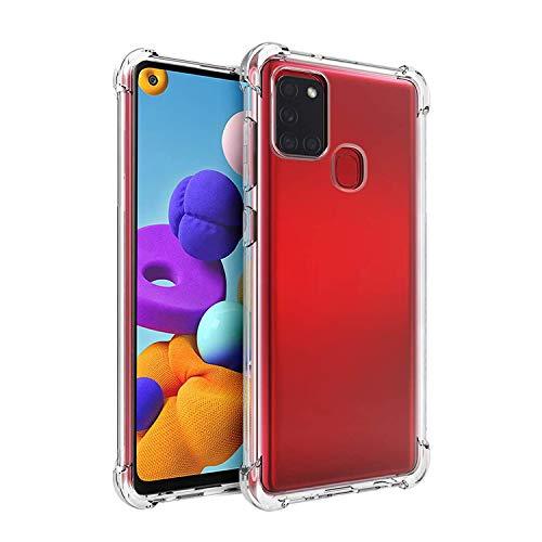 Funda transparente HSP compatible con Samsung Galaxy A21s, antigolpes, resistente a los golpes, transparente, con micropunto, ajuste perfecto, suave y transparente