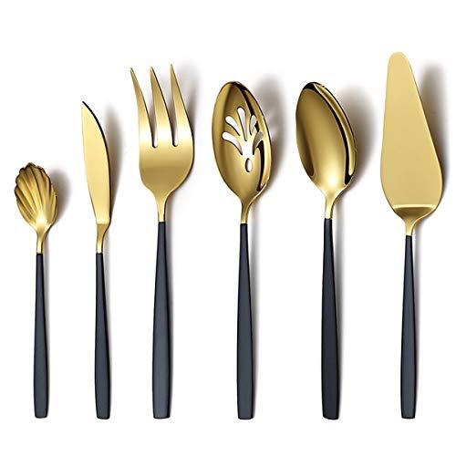 Cuchara para servir de oro negro, 6 piezas, juego de cubiertos para servir, utensilios para servir, incluye cuchara para servir,servidor para tartas, cuchillo para mantequilla,tenedor para servir,etc.