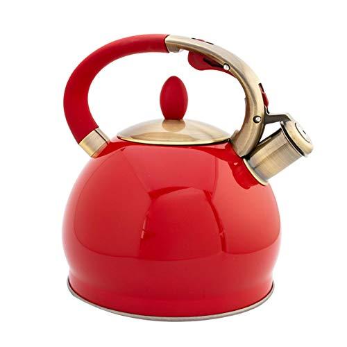 Easy-topbuy Edelstahltopf 3.5L Pfeifender Teekessel Mit Hitzebeständigem Ergonomischem Griff, Retro Pfeifender Kaffee-Teekessel Universell Für Gasherde | Induktionsherde | Elektroherde