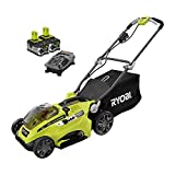 Ryobi 16 in. One+ 18-Volt Lithium-Ion Hybrid Walk Behind Push Lawn Mower - Two 4.0 Ah Batteries and Charger Included