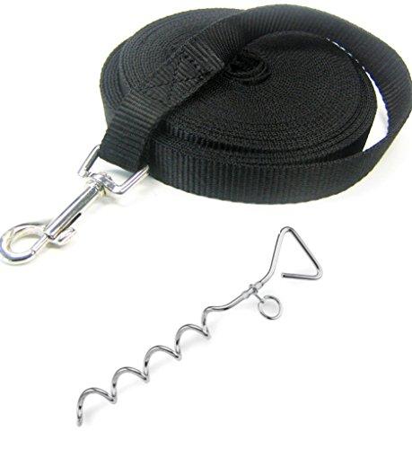 iapyx® 10m Schleppleine mit Handschlaufe (schwarz inklusive Spiralhering)