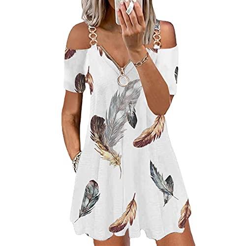 Onsoyours Vestido de Tirantes Sexy para Mujer,Hombro Frío,Manga Corta,Cremallera,Cuello en V,Camisa Gráfica,Vestidos,Vestido Informal de Verano Blanco Pluma XXL