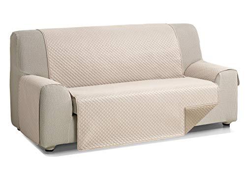 Martina Home Diamond Cubre Sofa Acolchado Reversible, Lino - Cuero, 3 Plazas
