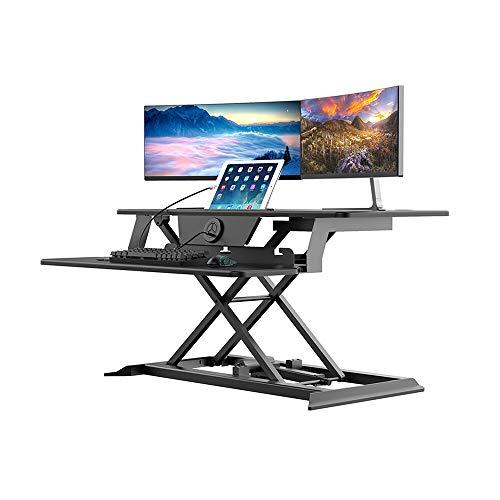 Einstellbare Workstation,Elektrischer Hubtisch Mit Elektrisch Betriebener USB-Ladestation Höhenverstellbares Zweistufiges DesignKompakter Stehpult (Size:Free Szie; Color:US)