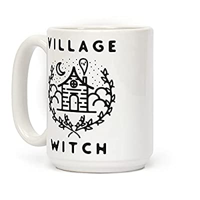 LookHUMAN Village Witch White 15 Ounce Ceramic Coffee Mug