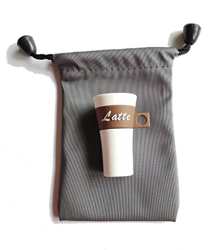 Café Taza 16 GB - Latte Coffee - Memoria Almacenamiento de Datos – USB Flash Pen Drive Memory Stick - Diseño único y Original - Envuelto en Bolso Hermoso Gris