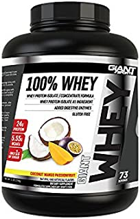 Giant Sports 100% Whey Protein, Mango Passion Fruit 5 Pounds, Gluten Free, with added Digestive Enzymes
