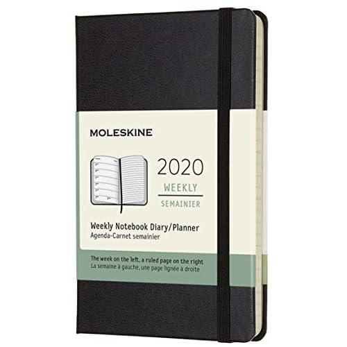 (modello precedente) - Moleskine 12 Mesi, anno 2020 Agenda Settimanale, Copertina Rigida e Chiusura ad Elastico, Colore Nero, Dimensione Pocket 9 x 14 cm, 144 Pagine