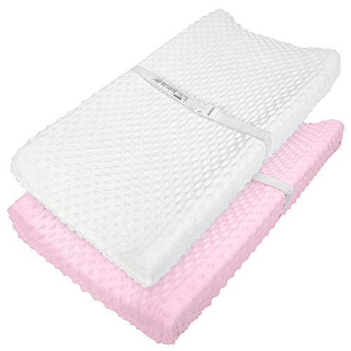 """TILLYOU Minky Dot Changing Pad Covers Warm - Luxury Plush Diaper Changing Table Sheets for Baby Boys Girls - Fit 32""""/34''x16"""" Pad - Ultra Soft Cozy - 2 Pack Pink&Cream"""