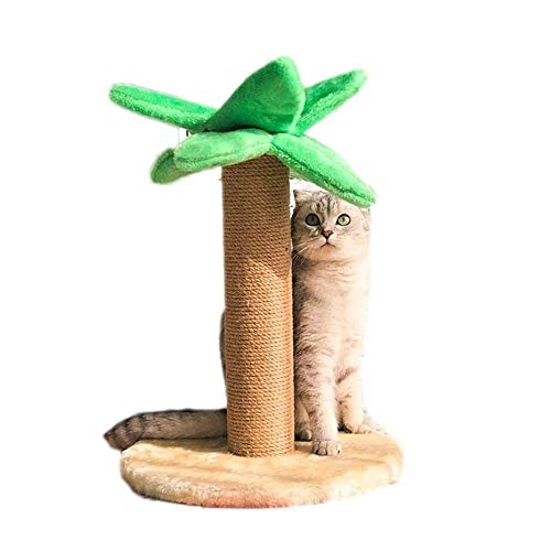 Aouiopkiomaopj cat Scratching Post, Coconut Tree Cat Climbing Frame Toy Litter Scratching Villa Board Jumping Table Claws Hemp Rope Rack, Posts Kitty Pet Play House