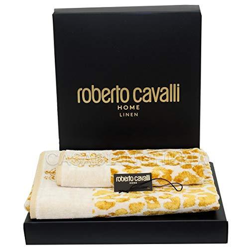 Roberto Cavalli Coppia Asciugamani di Spugna Snow Leopard