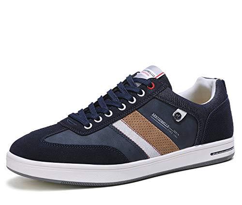 ARRIGO BELLO Zapatos Hombre Vestir Casual Zapatillas Deportivas Running Sneakers Corriendo Transpirable Tamaño 40-46 (L Azul Marrón, Numeric_43)