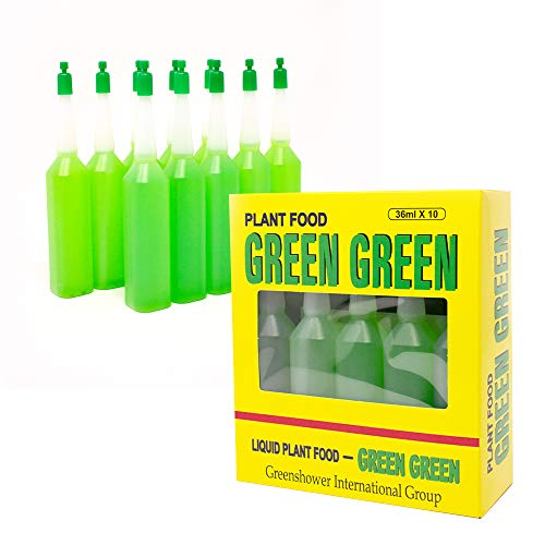 Green Green - Liquid Plant Food | All-Purpose Super Green Fertilizer | Ready-to-Use for Indoor & Outdoor Plants (36ml, 10 Bottles)