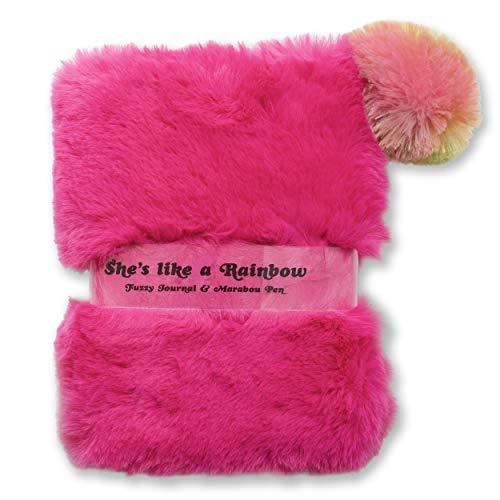 Tri-Coastal Design - Flauschiges Notizbuch mit Stift, Rosa Tagebuch mit linierten Seiten, Gebundenes Notizbuch mit mehrfarbigem Kunstfell und schwarzer Tinte, Flauschiges Tagebuch für Mädchen