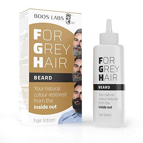 For Grey Hair for Beard un producto cubre canas, recupere el color original de su bigote, el retoque de las raíces del cabello, no es un tinte barba, una composición enzimática única