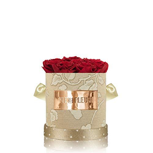 """Vie Fleuri Pure Glam Collection """"Glamourous Luxury"""" Rosenbox mit 8-11 roten Infinity Rosen, Konservierte Blumen in edler Goldener Jacquard-Flowerbox, bis zu 3 Jahre haltbar"""