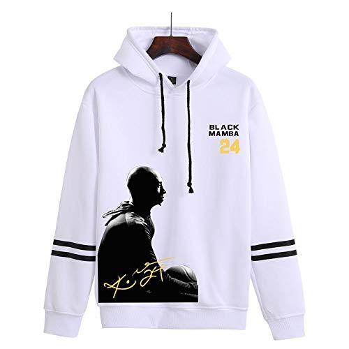 NBA Los Angeles Lakers Kobe Bryant # 24 Sudadera con Capucha para Hombre, Sudadera con Capucha De Polar De Manga Larga De Baloncesto Suéter De Entrenamiento Informal,Blanco,M