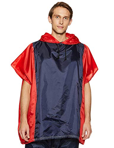 Amazon Brand - Solimo Water Resistant Polyester Poncho, Blue and Red, Free Size