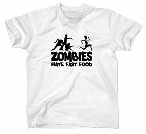 Zombies hate Fast Food Fun T-Shirt, zombie, horror, Weiss, S