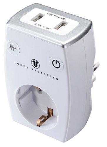 Masterplug SRGAUSBPW/G-MP Ladegerät, max. 2.1A, 2X USB Port + SCHUKO Steckdose mit Überspannungsschutz und Kindersicherung, 3680 W, 250 V, weiß, 2-Fach