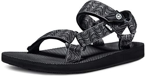 ATIKA Men's Islander Walking Sandals, Arch Support Trail Outdoor Hiking Sandals, Strap Sport Sandals, Summer Water Shoes, Islander(m114) - Wave Black, 11