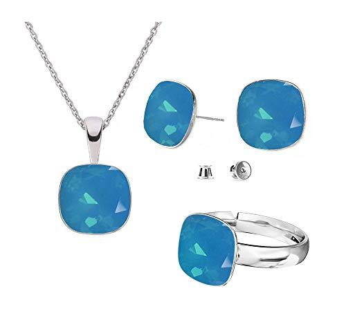 Beforya Paris – Plata 925 Square – Caribbean Blue Opal – Juego de pendientes – Collar y anillo ajustable de Swarovski – Joyas con caja de regalo gratis