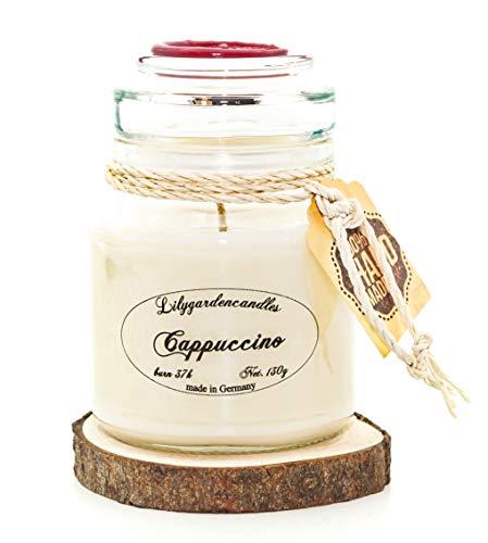 Lilygardencandles Duftkerze Cappuccino im Stopper Jar / 100% Sojawachs / 37+ Stunden Brennzeit/EIN süßer Kaffeeduft