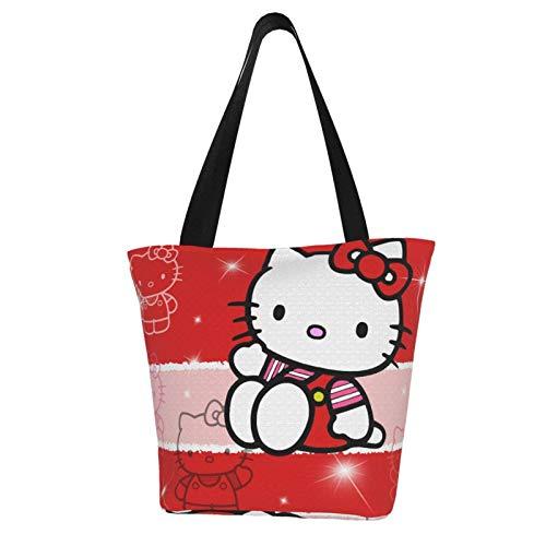 Hello Kitty Cartoon Anime Süße Katze Rot Damen Große Handtasche Top Griff Reißverschluss Tasche Tote Mode Mädchen Reise Schule Crossbody Lebensmittel Canvas Shopping
