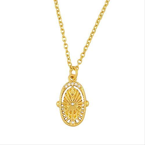 CEXTT Collares de Ojos turcos llenos de Oro para Mujeres Crystal Small Cross Cross Collar Joyería Religiosa Regalos católicos 50 cm