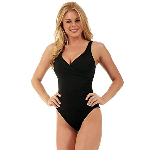 InstantFigure Womens Compression Shapewear Front Wrap One Piece Tummy Control Full Coverage Bikini Swimsuit - Black - 14
