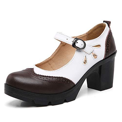 STMYH Women's Wedges Dress Platform High Heels Dermis Wingtip Cutout Lace Retro Fashion Pump Shoes (Numeric, Brown and White, Numeric_9)