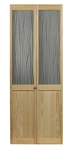 LTL Home Products 845730 Reeds Half Glass Interior Bifold Solid Wood Door, 36 Inches x 80 Inches, Unfinished Pine