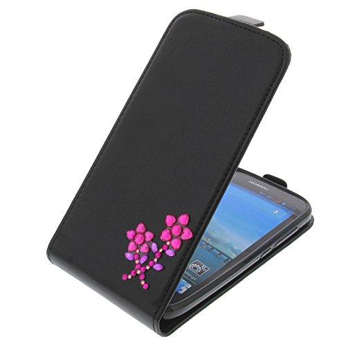 foto-kontor Tasche für Huawei Ascend Y600 Strass Blume Flipstyle Schutz Hülle Handytasche schwarz
