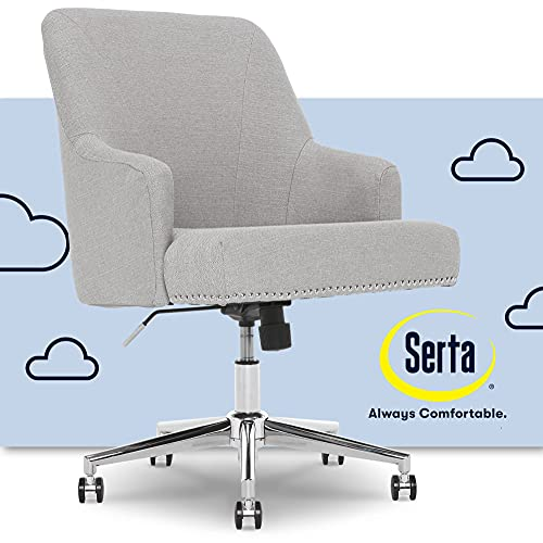 Serta Leighton Home Office Chair with Memory Foam, Height-Adjustable Desk Accent Chair with Chrome-Finished Stainless-Steel Base, Twill Fabric, Light Gray