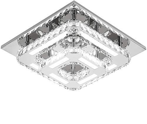 Iluminación de Cristal de Araña LED, Lámpara de Techo de Cristal Semi Empotrada Moderna para Pasillos Comedores Pasillo (30cm Doble capa)
